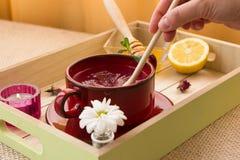 Розовый тонический комплект подготовки чая Стоковое Изображение RF