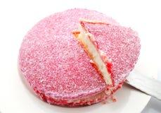Розовый торт кокоса Lamington Стоковые Изображения RF