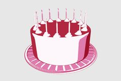 Розовый торт с свечами Стоковое фото RF