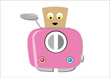 Розовый тостер, с куском усмехаться, застенчивый хлеб Стоковые Изображения