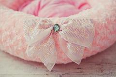 Розовый тюфяк любимчика с смычком в комнате стоковое фото rf