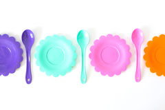 Розовый, фиолетовый, аквамарин, плиты цвета установите изолированный на белизне Стоковые Фотографии RF