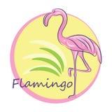Розовый фламинго Иллюстрация цвета вектора чертежа руки иллюстрация штока
