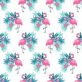 Розовый фламинго безшовный Стоковое Изображение RF