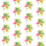Розовый фламинго и тропические заводы Стоковая Фотография