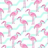 Розовый фламинго на картине шеврона голубой и белой Стоковые Изображения