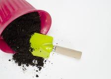 Почва и лопаткоулавливатель Potting Стоковые Фотографии RF