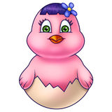 Розовый цыпленок пасхи в раковине яичка Стоковое Фото
