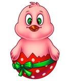 Розовый цыпленок пасхи в раковине яичка Стоковые Изображения RF