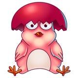 Розовый цыпленок пасхи с раковиной яичка на своей голове Стоковое фото RF