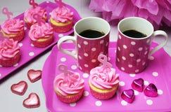 Розовый чай утра ленты Стоковая Фотография