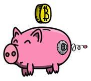 Розовый, чистый, сияющий, счастливый и тучный сейф свиньи в стиле шаржа с монеткой cryptocurrency Bitcoin виртуальной