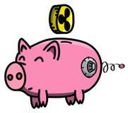 Розовый, чистый, сияющий, счастливый и тучный сейф свиньи в стиле шаржа с монеткой cryptocurrency пульсации виртуальной Стоковые Изображения