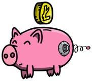 Розовый, чистый, сияющий, счастливый и тучный сейф свиньи в стиле шаржа с монеткой cryptocurrency Litecoin виртуальной Стоковые Фотографии RF