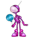 Розовый шарик воздуха робота иллюстрация вектора