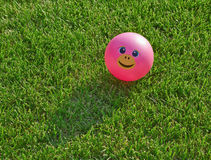 Розовый шарик smiley на зеленой траве Стоковое фото RF