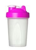 Розовый шейкер для порошка протеина для девушки изолированной на белизне Стоковое фото RF