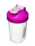 Розовый шейкер для порошка протеина для девушки изолированной на белизне Стоковое Изображение