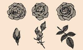 Розовый шнурок вектора вручную рисуя Розовое искусство шнурка сильно детализированное в линии стиле искусства Стоковое Изображение RF
