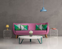 Розовый элегантный современный интерьер софы Стоковые Фото