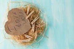 2 розовых бумажных сердца в малом гнезде на деревянной предпосылке Стоковая Фотография RF
