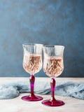 2 розовых запруженных стекла с шампанским Стоковое Фото