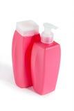 2 розовых пластичных бутылки Стоковые Изображения