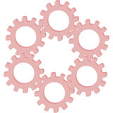 6 розовых шестерней в одной цепи Стоковые Фотографии RF