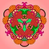 Розов-зеленая мандала на светлой предпосылке Стоковые Фотографии RF