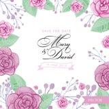 Розы акварели Wedding шаблон приглашения Бесплатная Иллюстрация