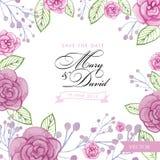 Розы акварели Wedding шаблон приглашения Иллюстрация вектора