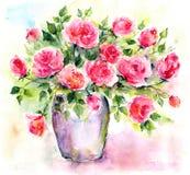 розы Букет акварели флористический кролик подарка поздравительой открытки ко дню рождения Стоковые Фотографии RF