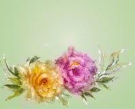 Розы винтажного стиля розовые и желтые Стоковое Фото