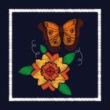 Розы вышивки и орнамент бабочки для цветочного узора Стоковое Изображение