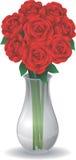 Розы в стеклянной вазе Стоковые Изображения RF