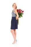 Розы женщины пряча Стоковая Фотография