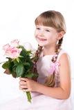 розы изолированные девушкой маленькие розовые белые Стоковая Фотография