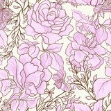 Розы и бабочки Безшовная картина, предпосылка, в свете VI Стоковое Изображение RF