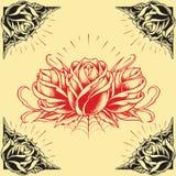 Розы и дизайн стиля татуировки рамки установили 01 Стоковые Изображения
