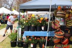 Розы и корзины на дисплее на будочках на саде весны показывают Tulsa Оклахоме США 4 13 2018 Стоковые Фотографии RF