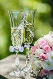 Розы и стекла шампанского Стоковая Фотография