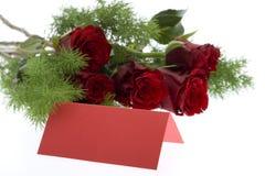 розы красного цвета места карточки Стоковое Изображение