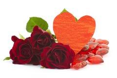 розы красного цвета сердец Стоковая Фотография