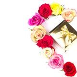 розы подарка золотистые multicolor белые Стоковое Фото