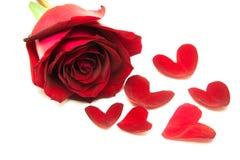 Розы подарка на день Валентайн, с сердцем выходят Стоковая Фотография RF