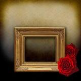 розы пустой рамки золотистые красные Стоковое Изображение RF