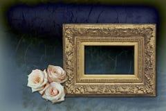 розы пустой рамки золотистые розовые Стоковые Изображения
