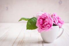 Розы розового чая на белой деревянной предпосылке Стоковые Изображения RF