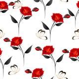 Розы с бабочками на белой предпосылке, безшовной картине Стоковая Фотография