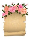 Розы с папирусом иллюстрация вектора